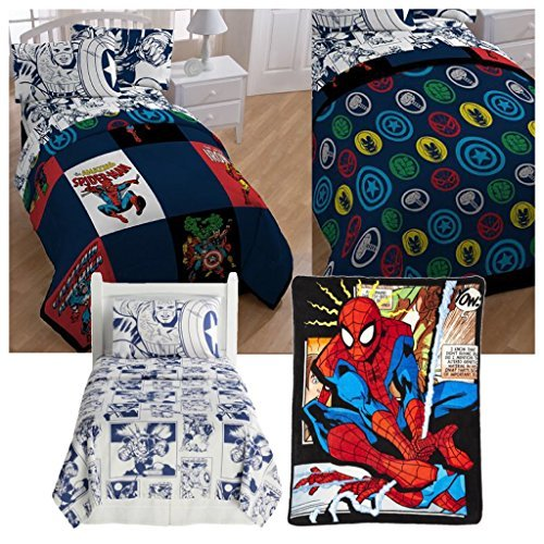 Marvel Comic Heroes 5 Piece Kids Twin Bedding Set - Reversible Comforter, Sheet Set with Reversible Pillowcase and Spiderman Comic Plush Throw Blanket