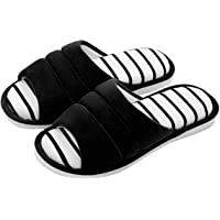 shevalues Women's Indoor House Slippers Open Toe Cotton Memory Foam Slip on Home Shoes