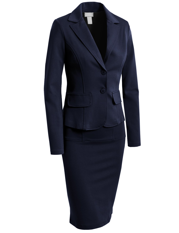 LE3NO レディース フォーマル オフィスビジネスブレザーとスカート スーツセット アメリカ製 B0794P8P1F S|L3nwst437_navy L3nwst437_navy S