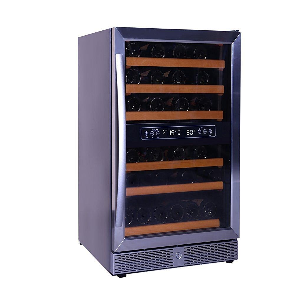 SMETA 46 Bottle Dual Zone Wine Cooler Refrigerator Silver Glass Door Build-in Bottle Champagne Cellar, 5.37 cu ft