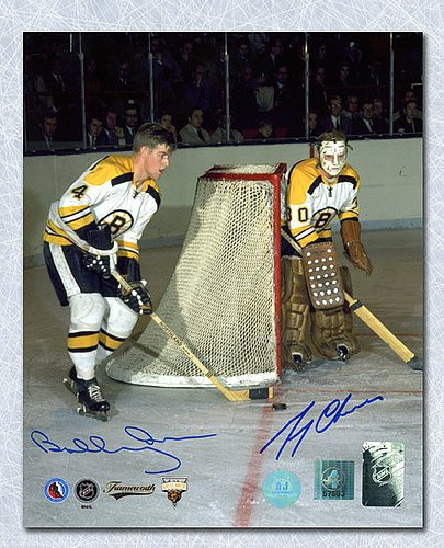Bobby Orr & Gerry Cheevers Boston Bruins Dual Autographed Legends 11x14 Photo GNR COA - Signed Hockey Pictures