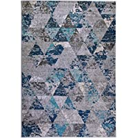 Ladole Rugs Soft Boston Collection Comtemporary Geometric Pattern Triangles Area Rug Carpet in Teal Grey, 3x5 (27 x 411, 80cm x 150cm)