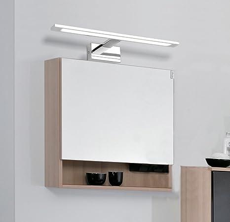 Glighone Aplique Baño Luz de Espejo 50 LED 10W 48cm Lámpara Moderno Iluminación para Maquillaje contra Niebla Acero Inoxidable para Cuarto de Baño, ...