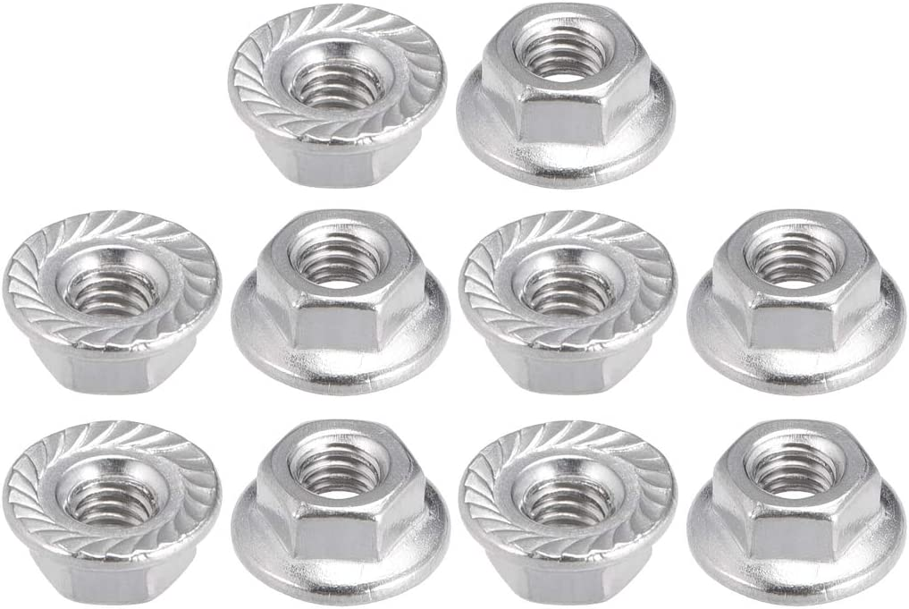 304 Stainless Steel uxcell M4 Serrated Flange Hex Lock Nuts 10 Pcs