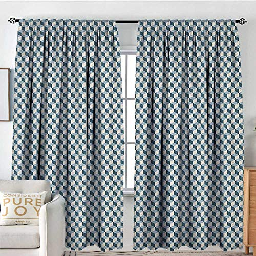 Blackout Thermal Insulated Window Curtain Valance Geometric,3D Effect with Stacked Cubes Pattern Grid Style Squares Arrangement, Pale Blue Dark Blue,Rod Pocket Valances 54