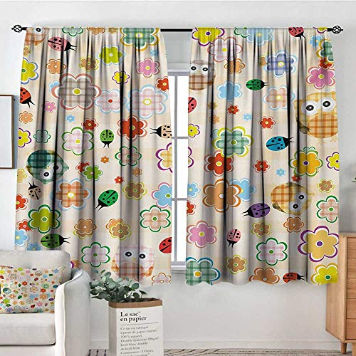 Mozenou Nursery Room Darkening Curtains Cute Owls and Flowers in Colorful Drawing Style Nature Animal and Plant Life Fun Drapes for Living Room 55