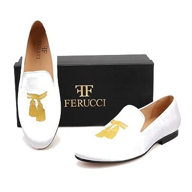 Men White Velvet Slippers Loafers Flat With Gold Embroidered Tassel