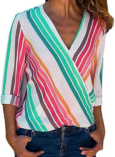 Gusspower Blusa Mujer Chiffon Camisa De Manga Larga Elegante Colorido a Rayas Cuello V Camisas Camisetas Mujer Elegante Camisas Casuales con Botones: Amazon.es: Ropa y accesorios