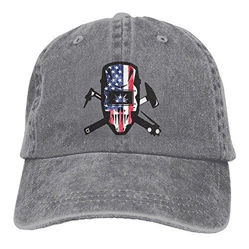 (Baseball Cap Welder USA Flag - Adjustable Trucker Hat Cotton Denim, DanLive Welder USA Flag)