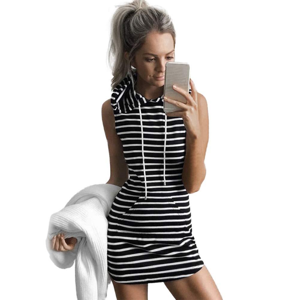 Forart Women's Sleeveless Pocket Cotton Bodycon Hoodie Mini Shirt Casual Dress