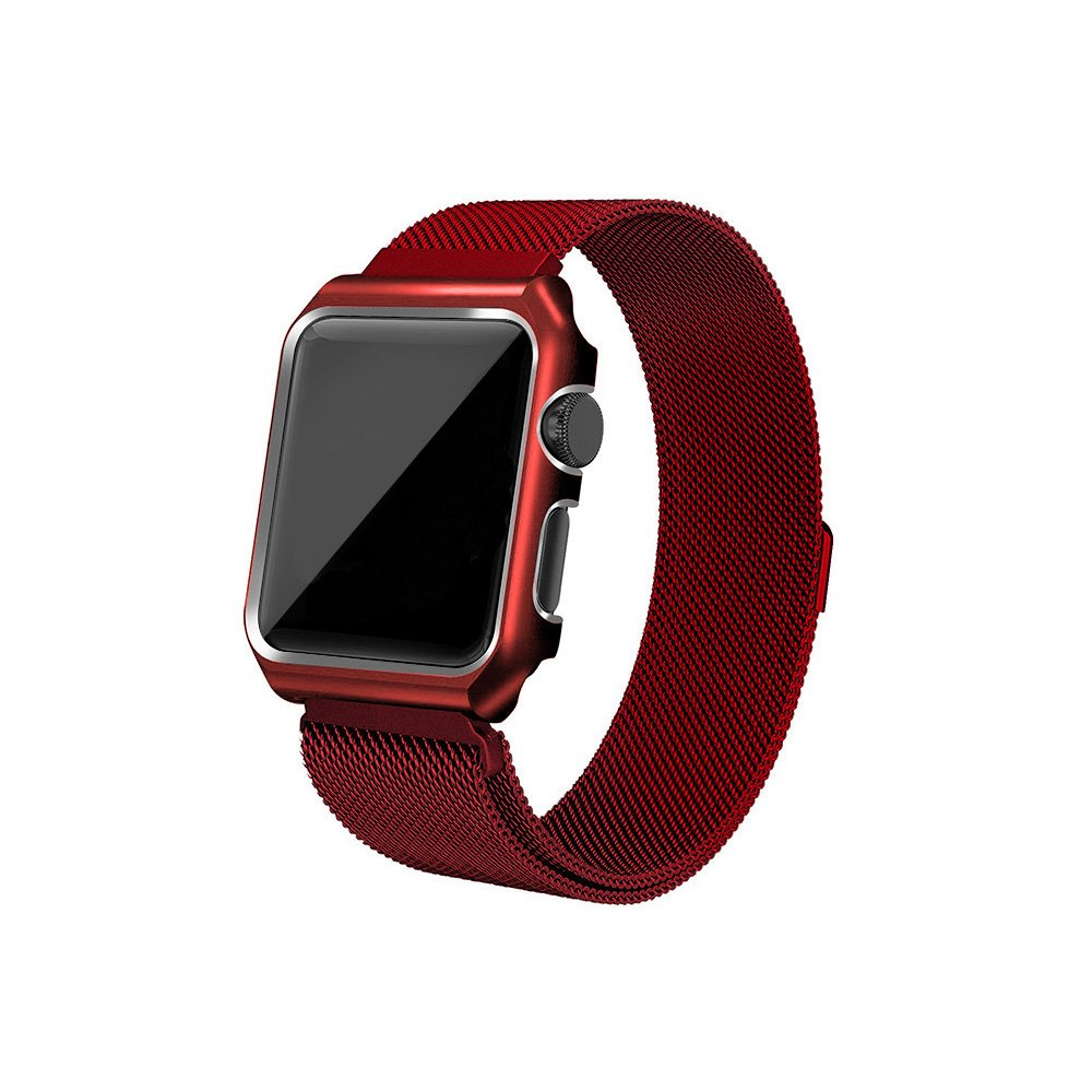 AHXLL Apple Watch Mesh Milanese Loop stainless Steel Replacement iWatch + Metal Protective case for Apple Watch Series 3, Series 2, Series 1, Sport& Edition (Red, 42MM)