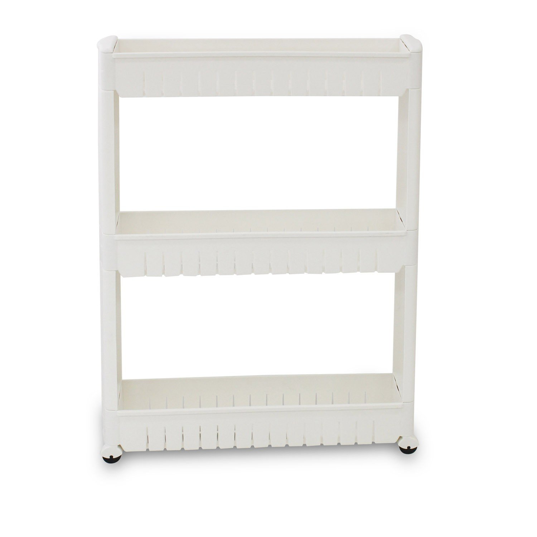 Todeco étagère à roues meuble de rangement avec roues matériau plastique poids 179 kg 3 compartiments 78 x 54 x 12 cm blanc amazon fr