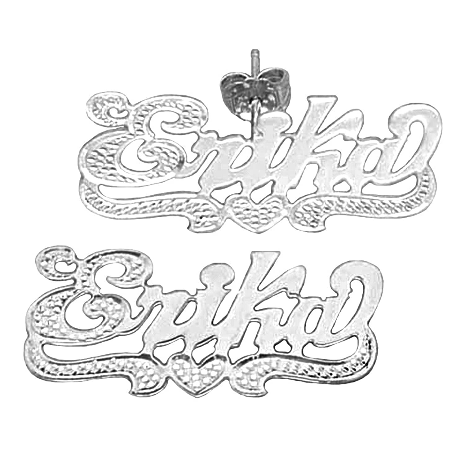SNS821-1 Accent on First Initial and Heart Tail Finished Sterling Silver Single Plate Name Earrings