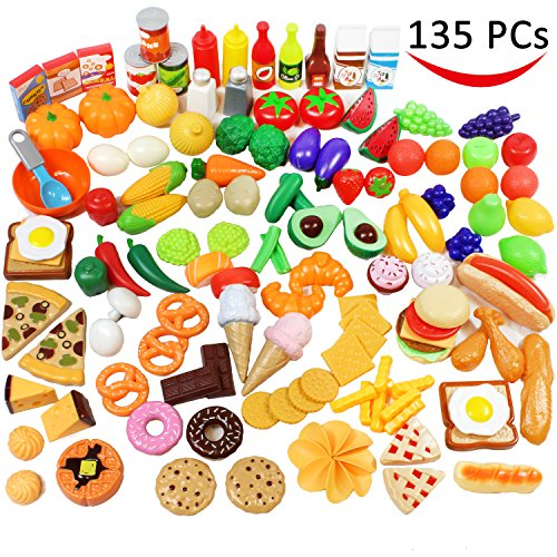 Toys Pretend Play Kitchens (Play Food Set 135 Pieces Play Kitchen Set, Market Educational Pretend Play Food, Toddlers Inspires Imagination, Children Pretend Food Toys and Kid Food Playset Toys by Joyin Toy)
