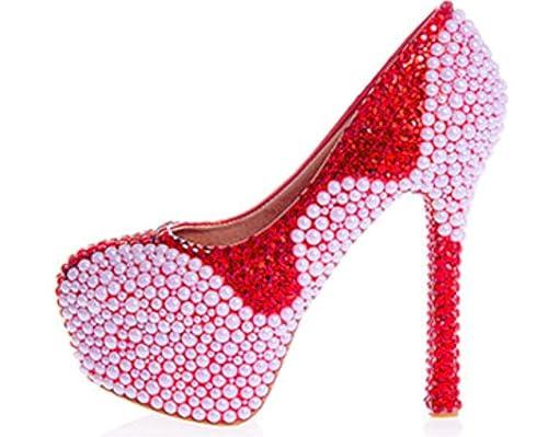 Kitzen Womens Crystal Rhinestones Pearl Bride Court Shoes Wedding Party  Evening High Heel Platforms Rhinestones Crystal Lace Stiletto b46e8377f7