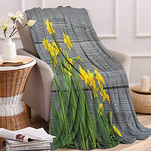 "ScottDecor Bed or Couch 70"" x 60""Yellow Flower Lightweight Blanket Bouquet of Daffodils on Wood Planks Gardening Rustic Country Life Theme Warm All Season Blanket for Yellow Grey"