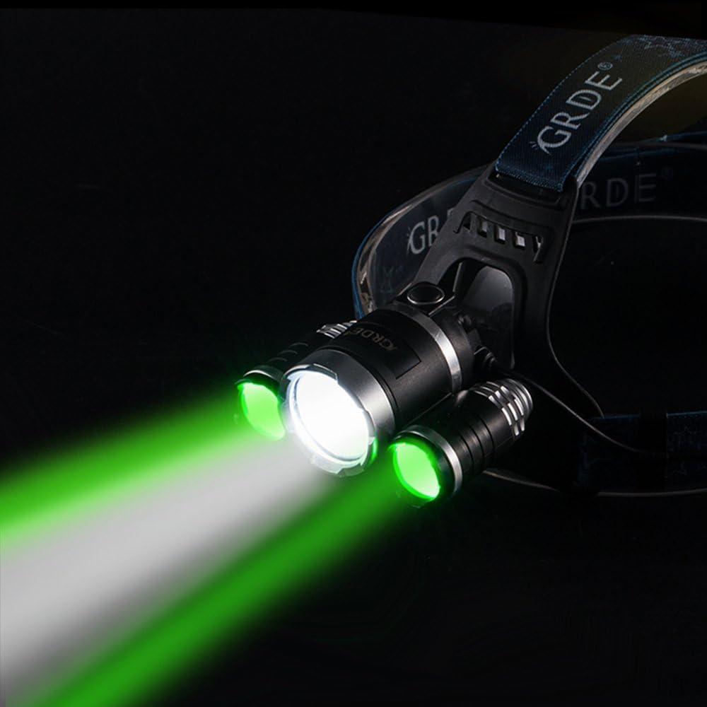impermeable potente bater/ía para faros delanteros para camping pesca Ciclismo Running Walking GRDE/® 4000/Lumens 3/x CREE XM-L T6/LED Cabeza linterna//linterna frontal
