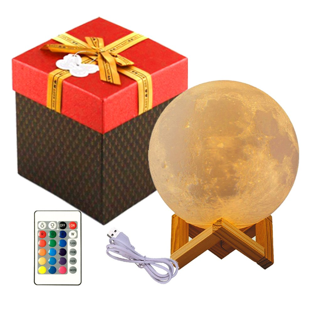 Moon Lamp 3D Print LED Dimmable Remote Control 16 Colors RGB Moon Light with Touch Sensor Switch Adjustable Brightness Night Light USB Charging Lunar Home Decorative Mother's Day Gift 5.9''