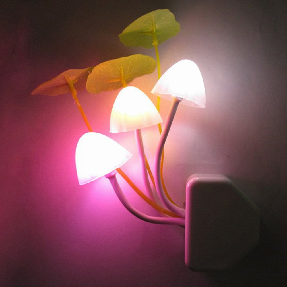 Night Light,ASDOMO Romantic Colorful Sensor LED Mushroom Night Light Wall Lamp Home Decor US Plug