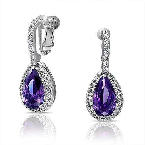 Bling Jewelry Simulated Amethyst CZ Bridal Clip On Earrings Rhodium Plated qL54Ct5E