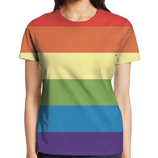 Amazon.com  HVKZLL Gay Pride Rainbow Flag Women s Tee Fashion Womens  Short-Sleeved T-Shirt Summer Tops  Clothing 3f500ff202