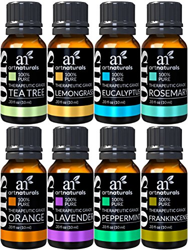 ArtNaturals TherapeuticGrade Aromatherapy Essential Oil Set – 8 x 10ml  100% Pure of the Highest Quality Oils – Peppermint Tea Tree Lavender Eucalyptus