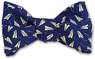 product image for Josh Bach Men's Paper Airplanes Self-Tie Silk Bow Tie Blue, Made in USA
