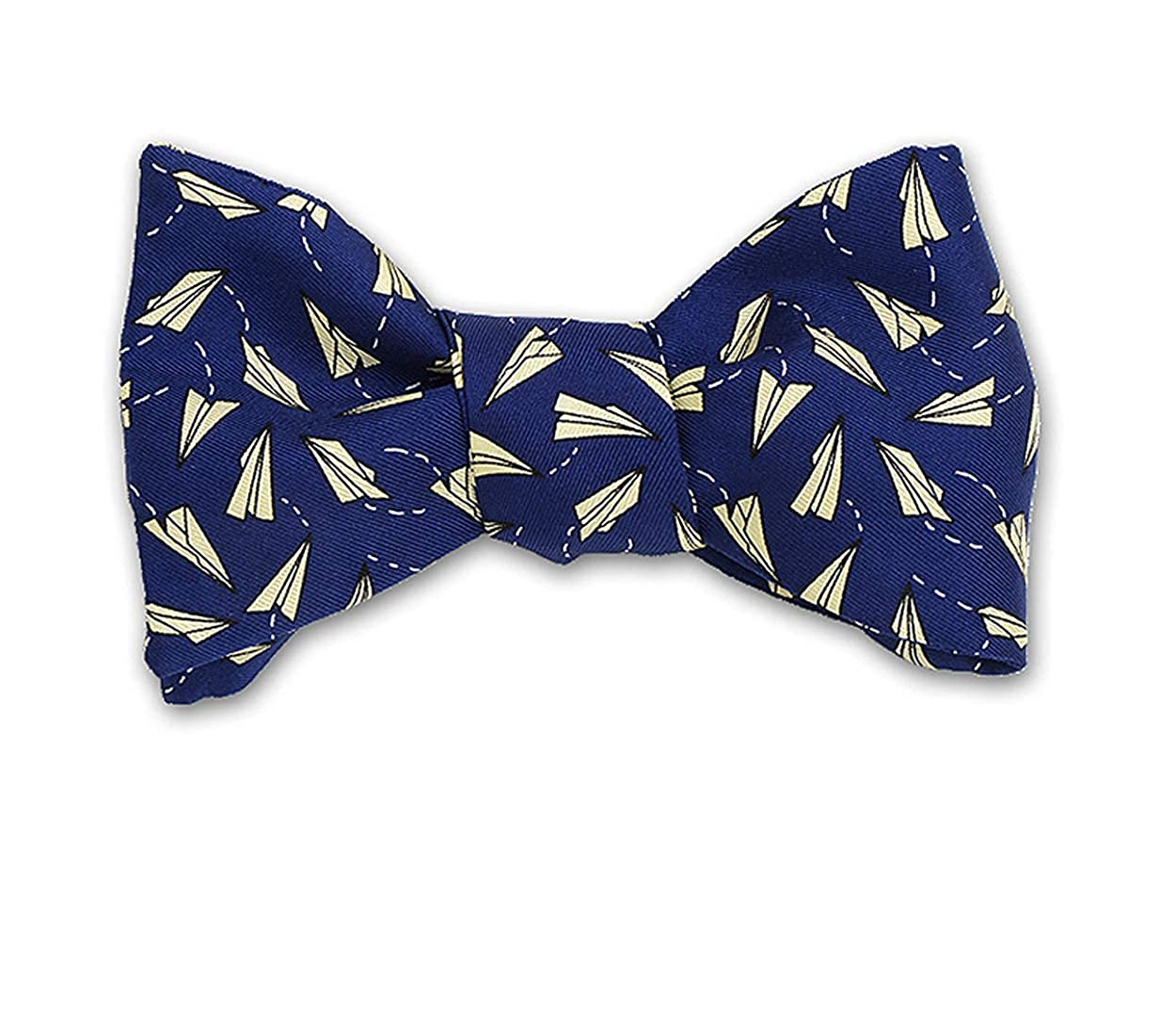 Made in USA Josh Bach Mens Paper Airplanes Self-Tie Silk Bow Tie Blue