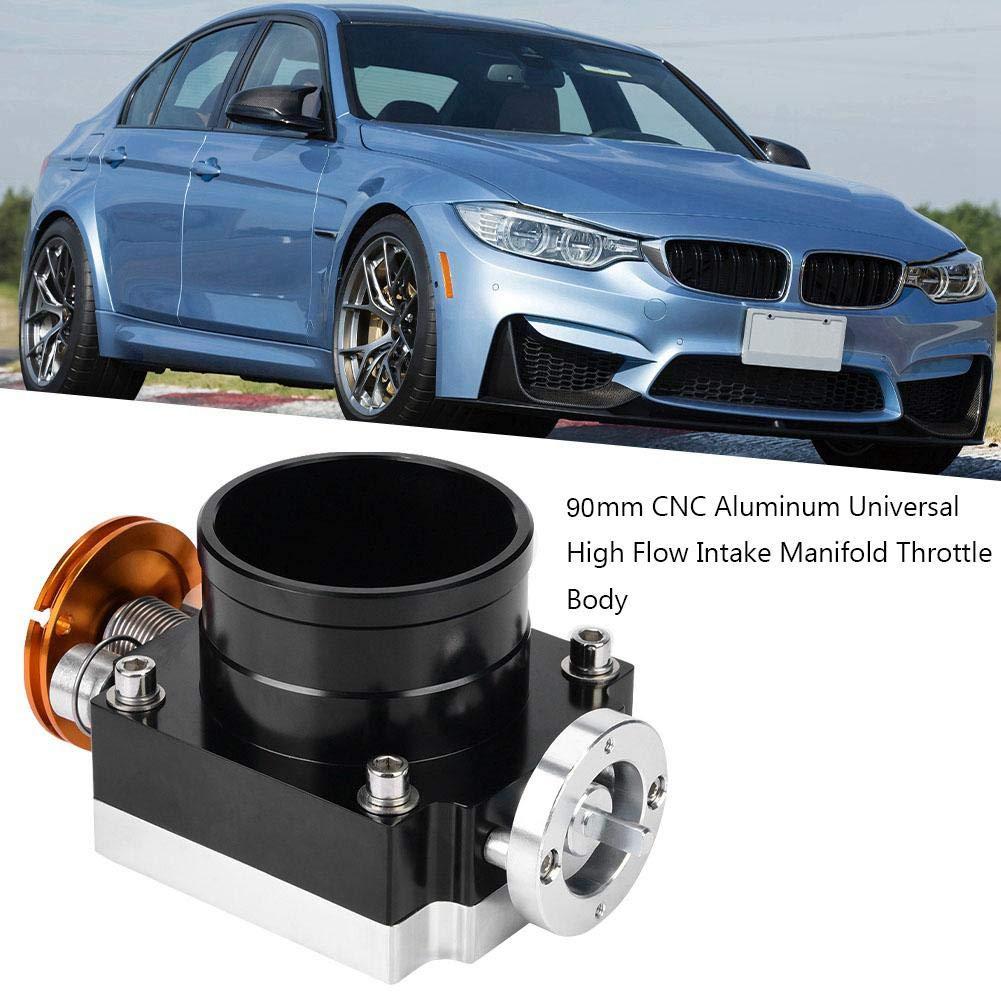 nero e argento Black corpo farfallato universale in alluminio CNC ad alta portata Corpo farfallato per acceleratore meccanico generale Corpo farfallato da 90 mm
