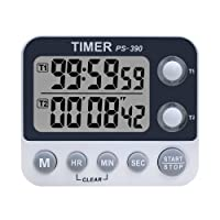 Xrexs - Minuteur de cuisine, double et analogique - Volume de la sonnerie réglable - Minuterie de cuisson, chronomètre, grand écran LED - Dos magnétique, pile incluse