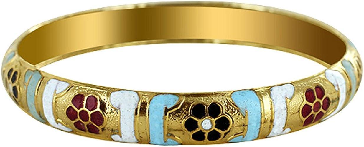 Gem Avenue 10mm Wide Gold Tone Fashion Bangle Bracelet Size 2.10
