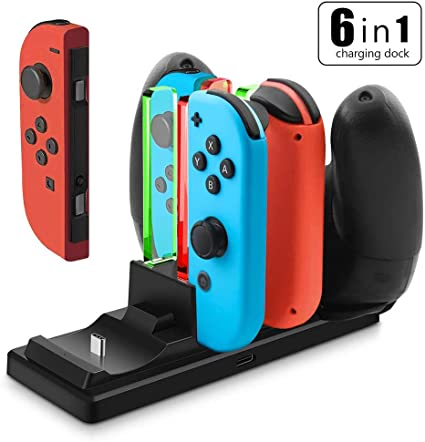 YFish Base de Carga para 4 Joy-con y 2 Mando Pro Switch Nintendo ...