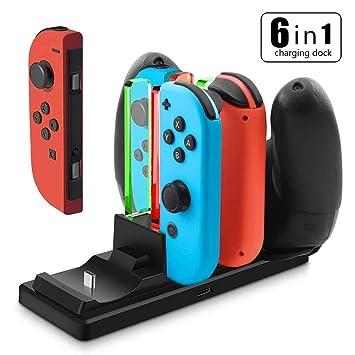YFish Base de Carga para 4 Joy-con y 2 Mando Pro Switch Nintendo, Cargador Charging Dock USB Type C Soporta AC Adaptador Original Estación de Carga ...
