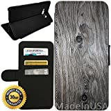 Flip Wallet Case for Galaxy S8 Plus (Grey Weathered Wood Grain) with Adjustable Stand and 3 Card Holders | Shock Protection | Lightweight | by Innosub