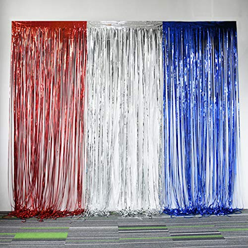 4th of July Decorations Red White Blue Metallic Tinsel Curtains for American Theme Party Patriotic Independence Day Photo Backdrops Props Decorations -