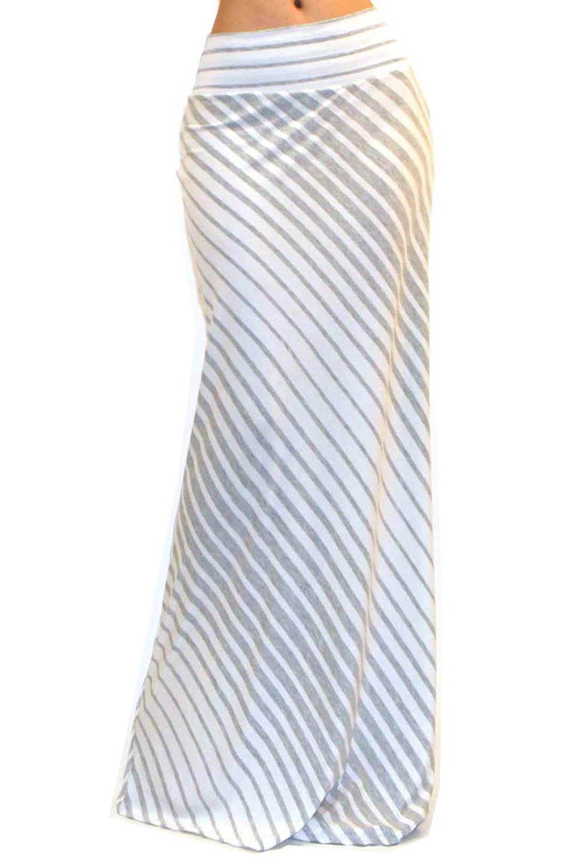 Vivicastle Women's Asymmetric Striped Fold Over Waist Long Maxi Skirt (Medium, AG50)