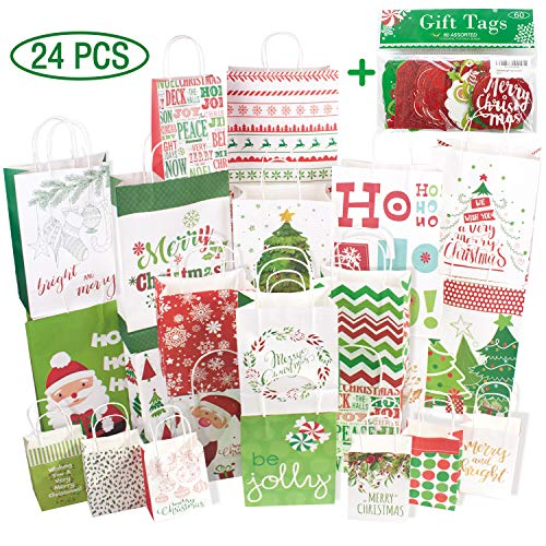 24 White Kraft Christmas gift bags Assorted sizes with 60-Count Christmas Gift Tags,Bulk Set(6 XL,6 Large,6 Medium,6 Small)