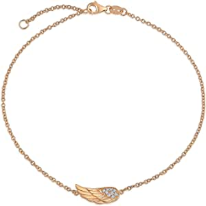 Delicate CZ Angel Wing Feather Anklet For Teen Ankle Bracelet For Women Teens Rose Gold Plated 925 Sterling Silver 9-10 Inch Extender