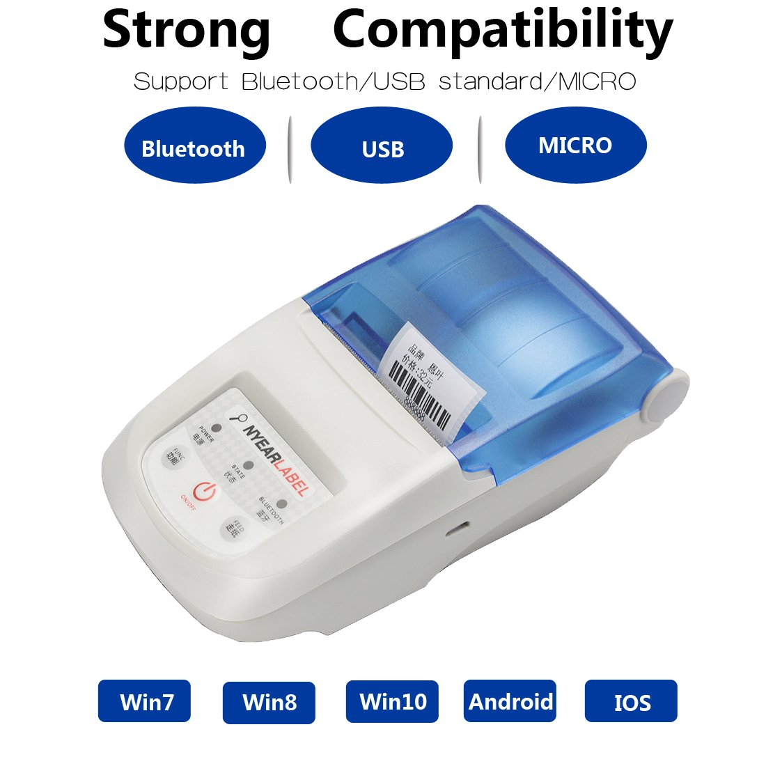 NYEAR58-10mm (Adjust) Receipt Printer,Portable Personal Mini Wireless Bluetooth Printer iOS Android Systems, USB Thermal Printer Compatible ESC/POS Print Commands Set (Bluetooth+USB)