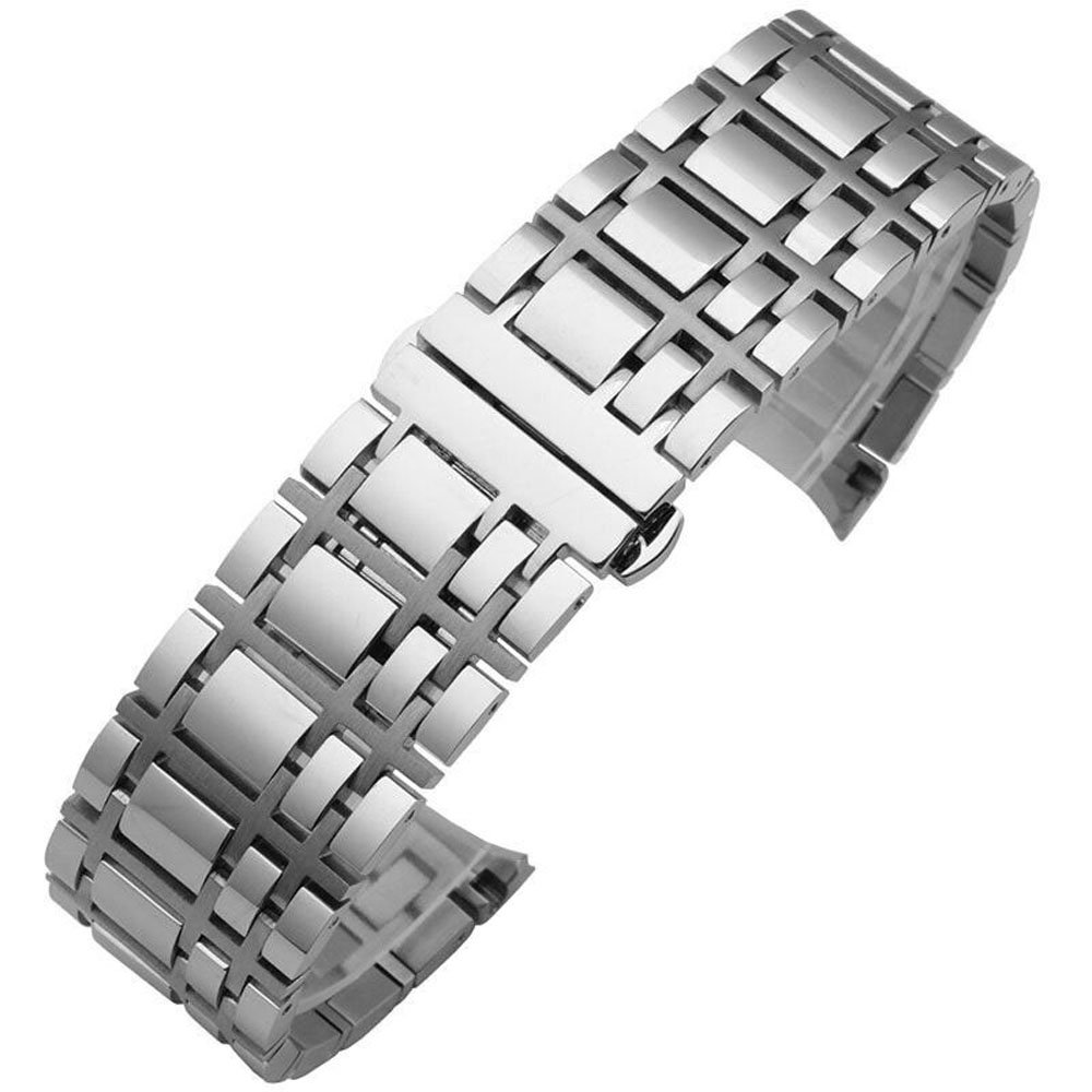 MSTRE JG12 Stainless Steel Bracelet Watch Band Strap Curved End Solid Links 16mm/20mm For Burberry Watches (20mm, silver)