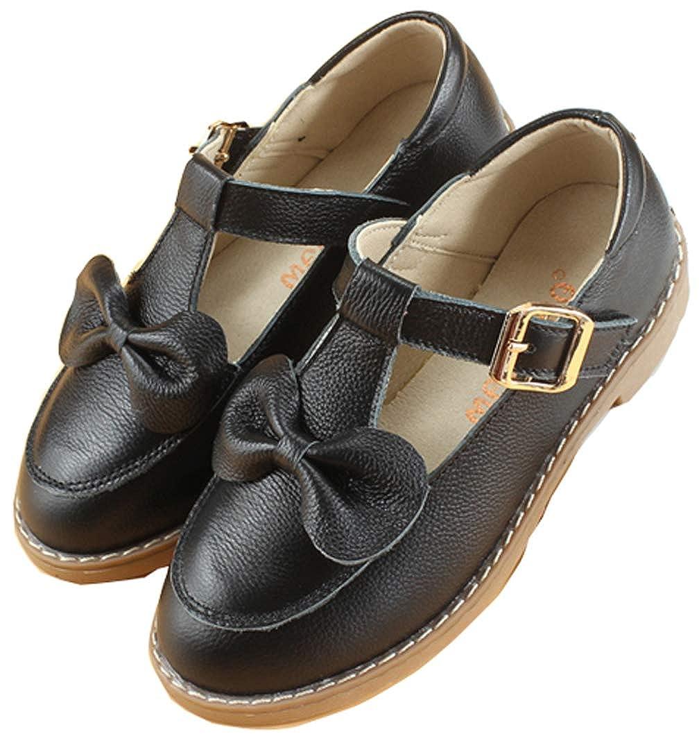 Toddler//Little Kid//Big Kid iDuoDuo Girls Genuine Leather Bowknot Hook and Loop Princess Shoe Kids Performance Shoes