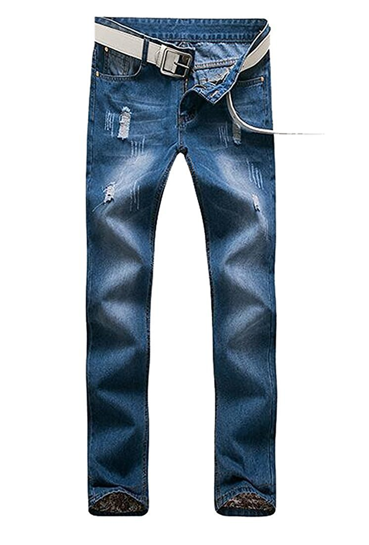 TOPING Fine Fashion Men's Premium Ripped Denim Straight-Leg Regular Fit Jean Blue28