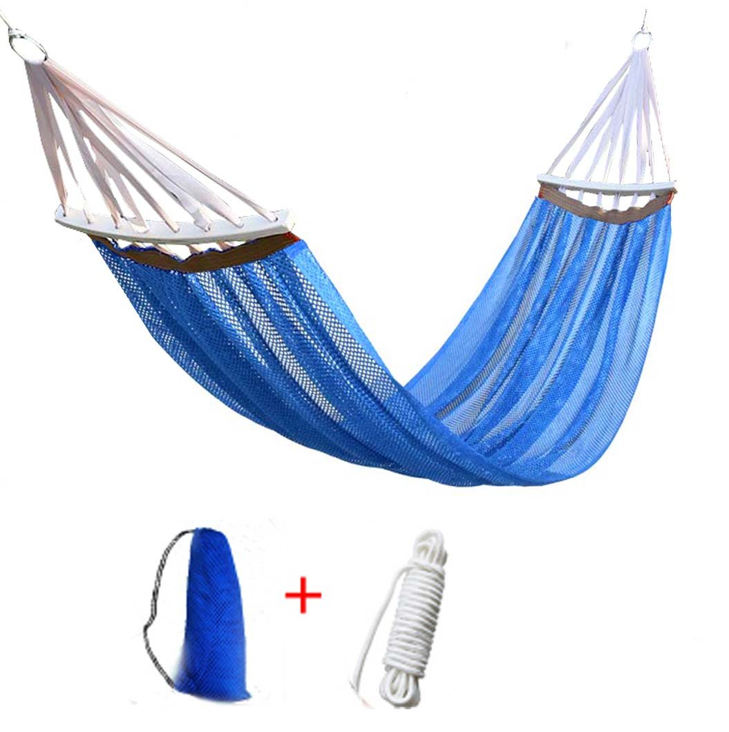"Hegogo-Mesh Cooled Ultralight Hammock Portable Foldable Leisure Swing Bed with Backpack for Beach Camping Hiking Garden Travel Sports Backyard Porch Outdoor or Indoor - The portable hammocks are made of high quality high-strength Ice Silk Fabric. It is extra soft yet super strong ,breathable and quick dry. When you lie on it,you will feel fresh and cool High-strength Camping Hammock - Safely holds up to 661lbs (300kg). The high strength polyester ribbon is used to ensure the safety of the load. The hammock size is 79""*55"". Hardwood spreader bars ensure you will never be 'cocooned' in the hammock.The wood spreader bar is curved that prevent you from turning over and fall off.The hardwood spreader bars that help prevent the roping from becoming tangled. - patio-furniture, patio, hammocks - 619CS86PwEL -"