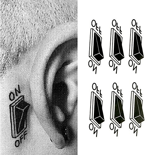 Oottati Small Cute Temporary Tattoo Switch Behind Ear Set of 2