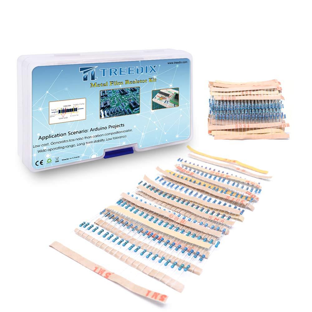 Treedix 64 Values 1280 pcs Metal Film Resistor High Precision Resistor Resistance Assortment kit for Arduino Respberry Pi Projects