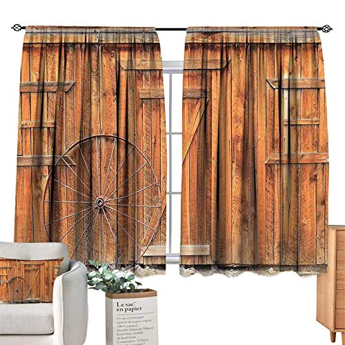 (Unprecall Western Black Out Window Curtain Ancient West Rural Town Rustic Weathered Wooden Wall Door Wagon Wheel in Front ImagePeru Short Curtain W72 x L72)