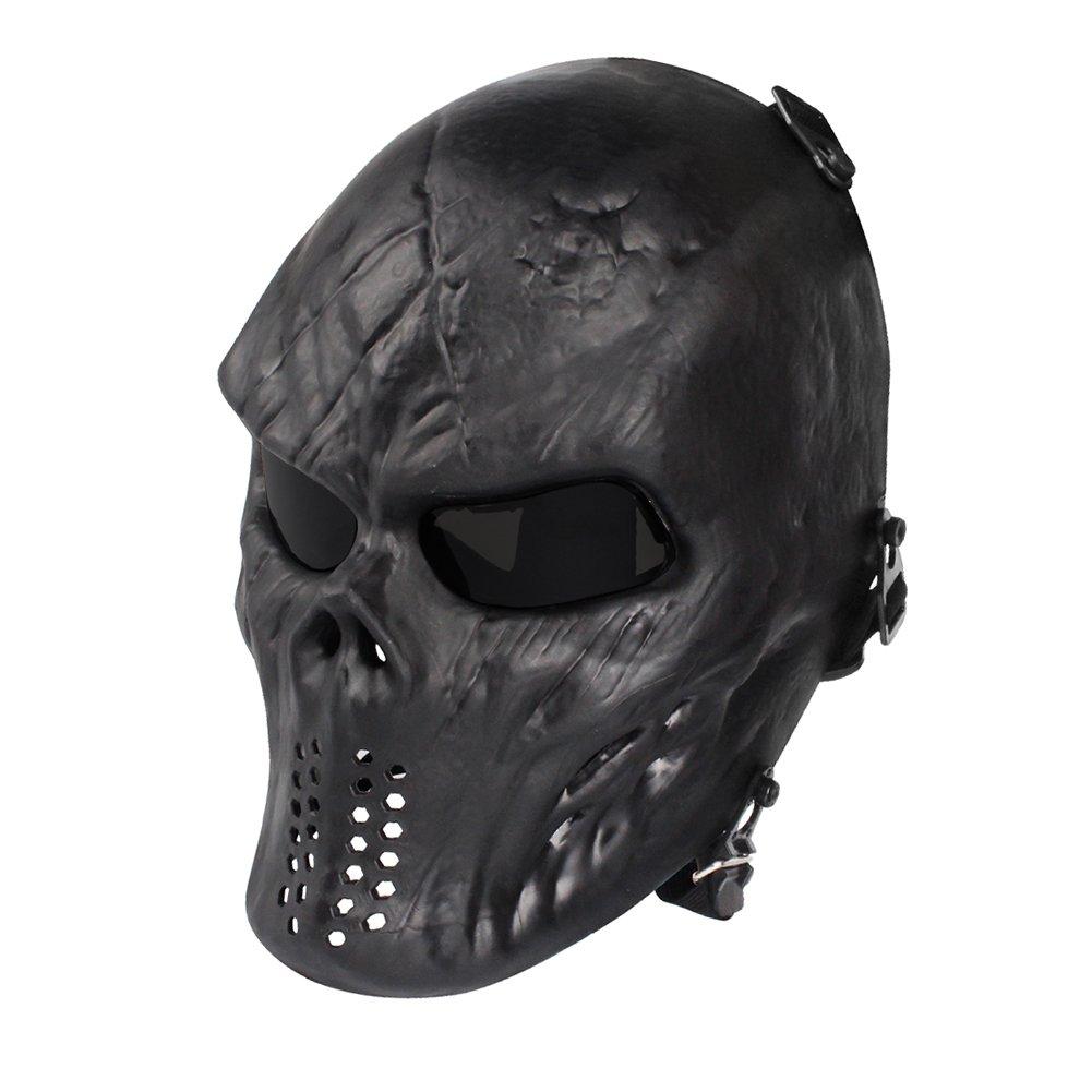 NINAT Airsoft Skull Masks Full Face - Tactical Mask Eye Protection for CS Survival Games BBS Shooting Masquerade Halloween Cosplay Movie Props Zombie Scary Skeleton Masks Black Greylens by NINAT