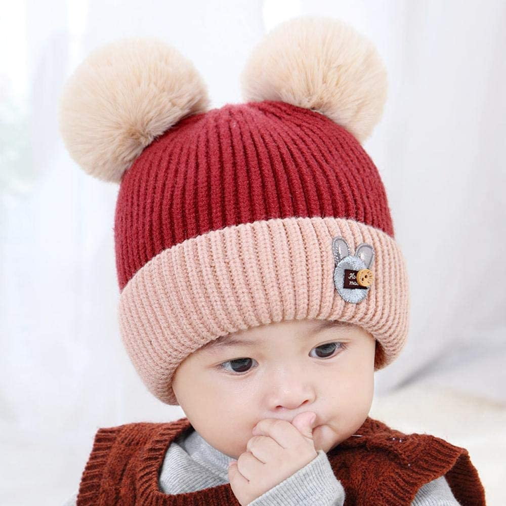 Myzixuan Winter New Childrens Sweater Cap Baby Beanie Cute Fur Ball Baby Warmer hat