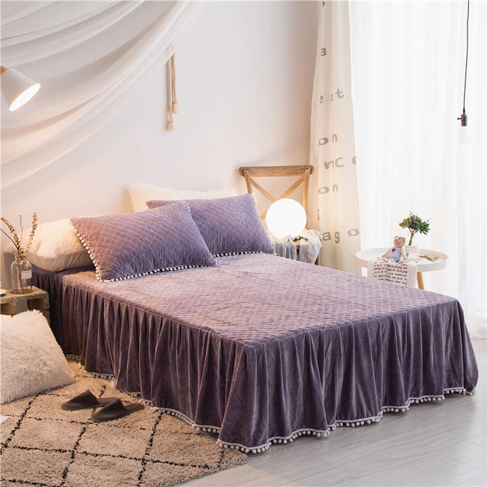 Lakebay ダイヤモンド型 キルト コットン ベッドスカート ポンポンフリンジ付き ベッドシーツ 床までの長さ18インチ 無地 59