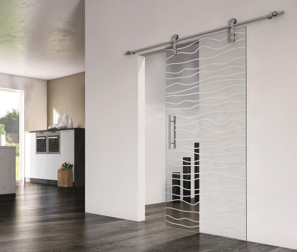 Diseño de Herraje de montaje de pared – Herraje para puerta corredera de cristal Slido Diseño de 70 V/100 V | Carril de acero inoxidable cepillado mate | Longitud 1804 mm, juego